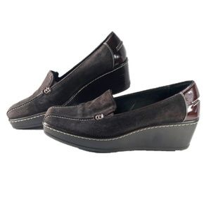 Donald J Pliner Suede Loafer Peni Wedge Brown 9M